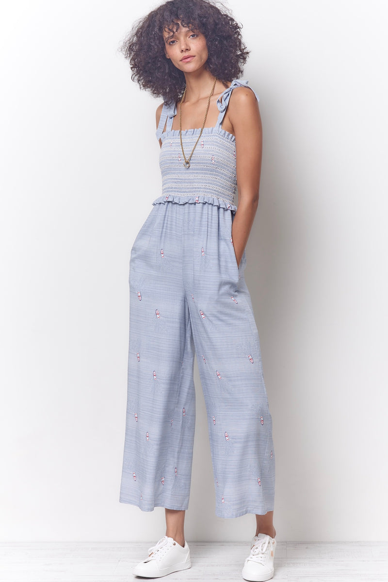 ANYA Smocked Top Jumpsuit - Boat Print