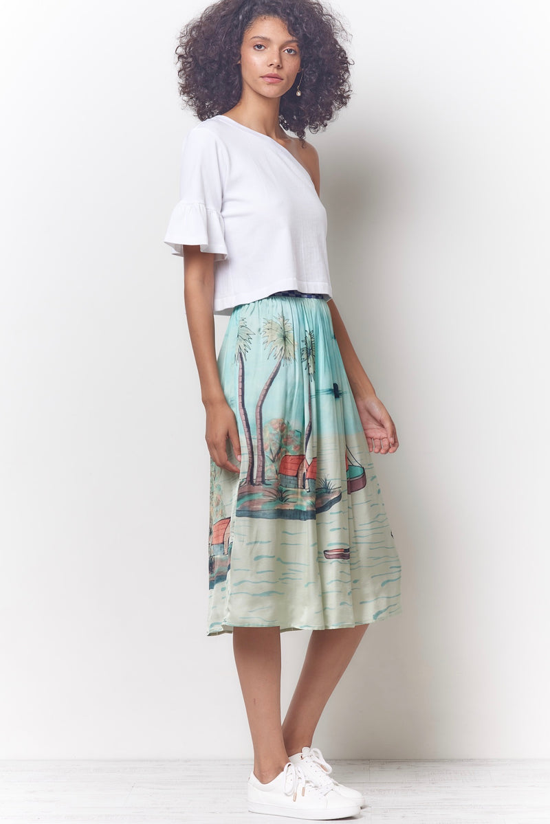 ELINA Dirndl Skirt - Seaside Print