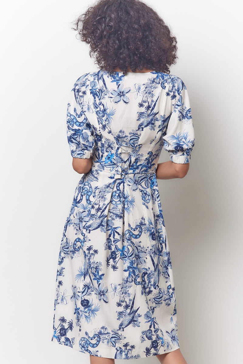 TABITHA Lace Up Back Dress - Toile Print