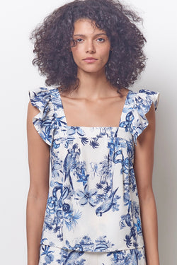MARGELLA Ruffle Sleeve Top- Toile Print