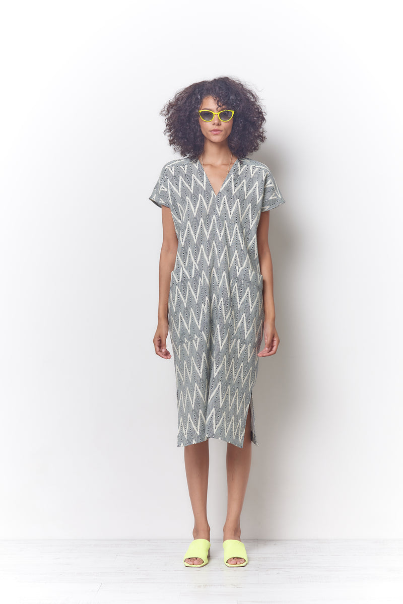 JADE V Dress - ZigZag Print