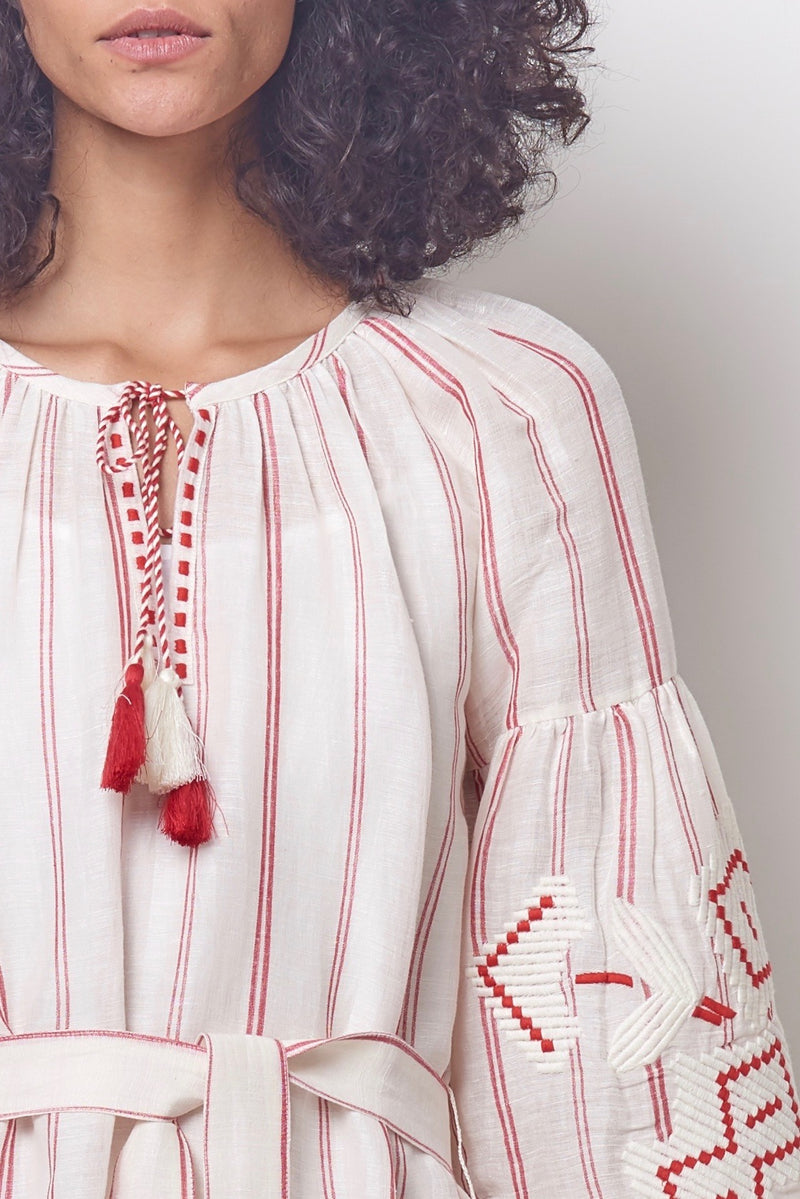 Ivory and Red Striped Embroidered Peasant Dress