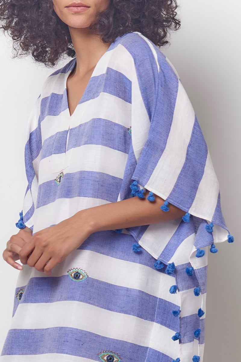 Beaded Eye Caftan -Stripe