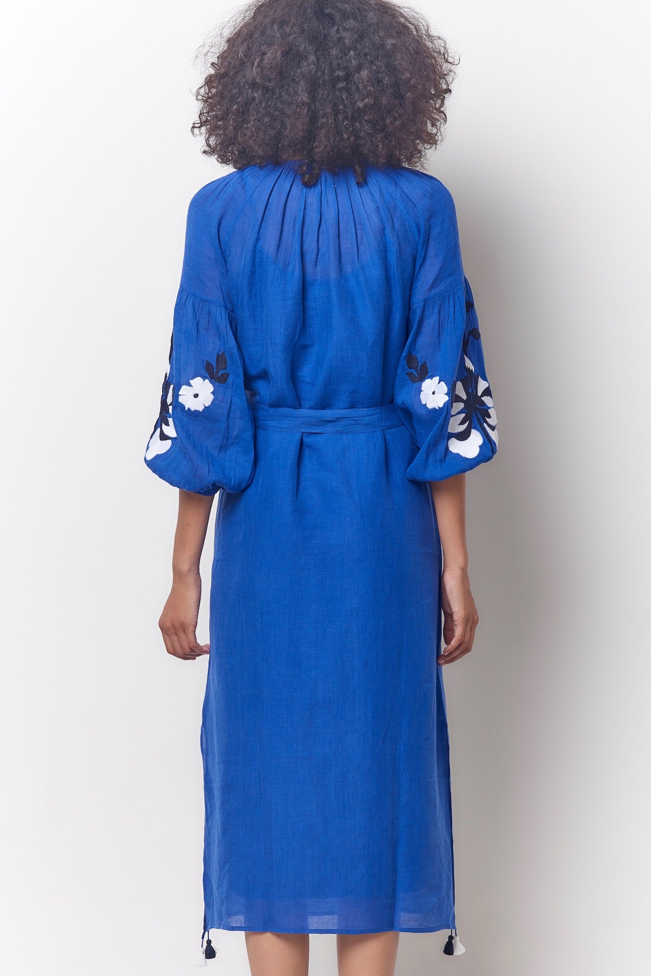 Blue Embroidered Peasant Dress
