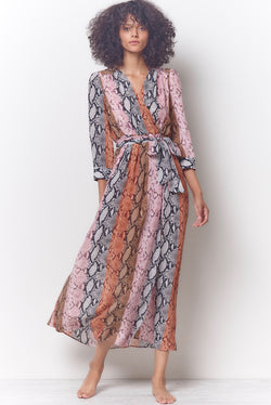 GEMMA Wrap Dress - Snake Stripe
