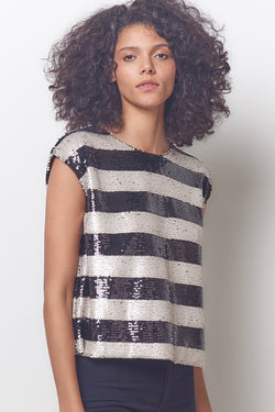AMALA Stripe Tee - Sequin