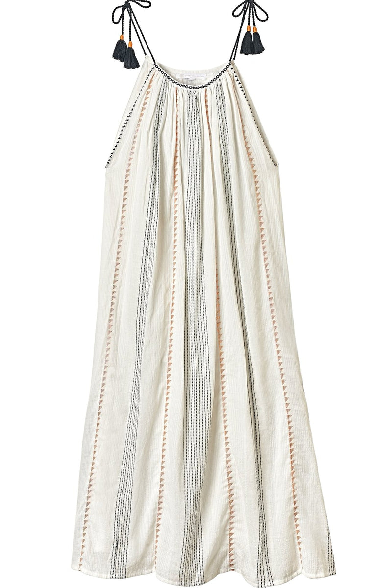CINDY Texture Stripe/Embroidered Sun Dress