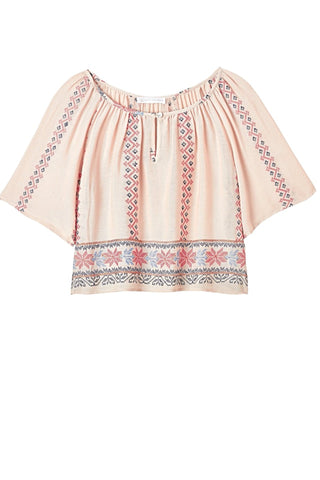 RAQUELITA Embroidered Peasant Shirt