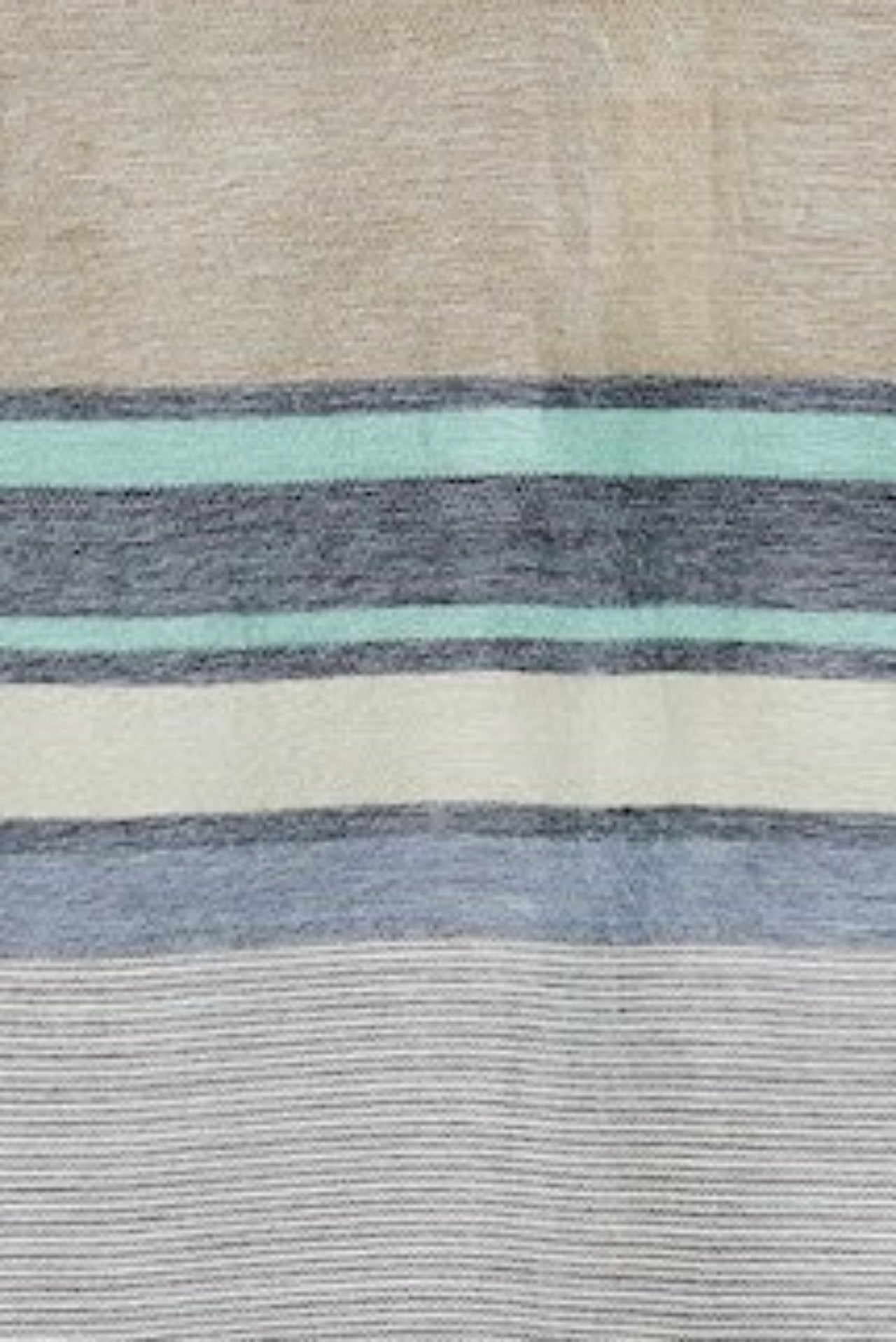 Alpaca Super Soft Striped Throw- Seafoam