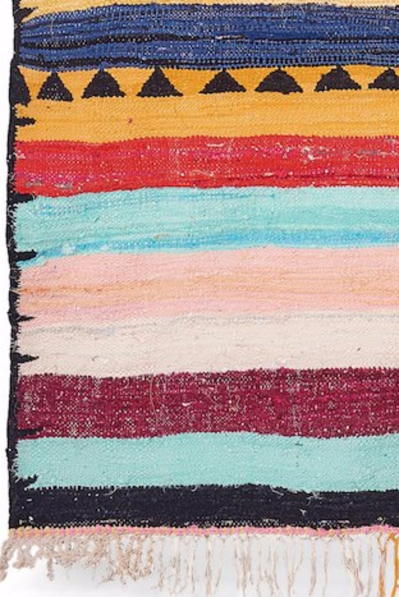 Vintage Moroccan Colorful Striped Hand Woven Flat Rug 10x5