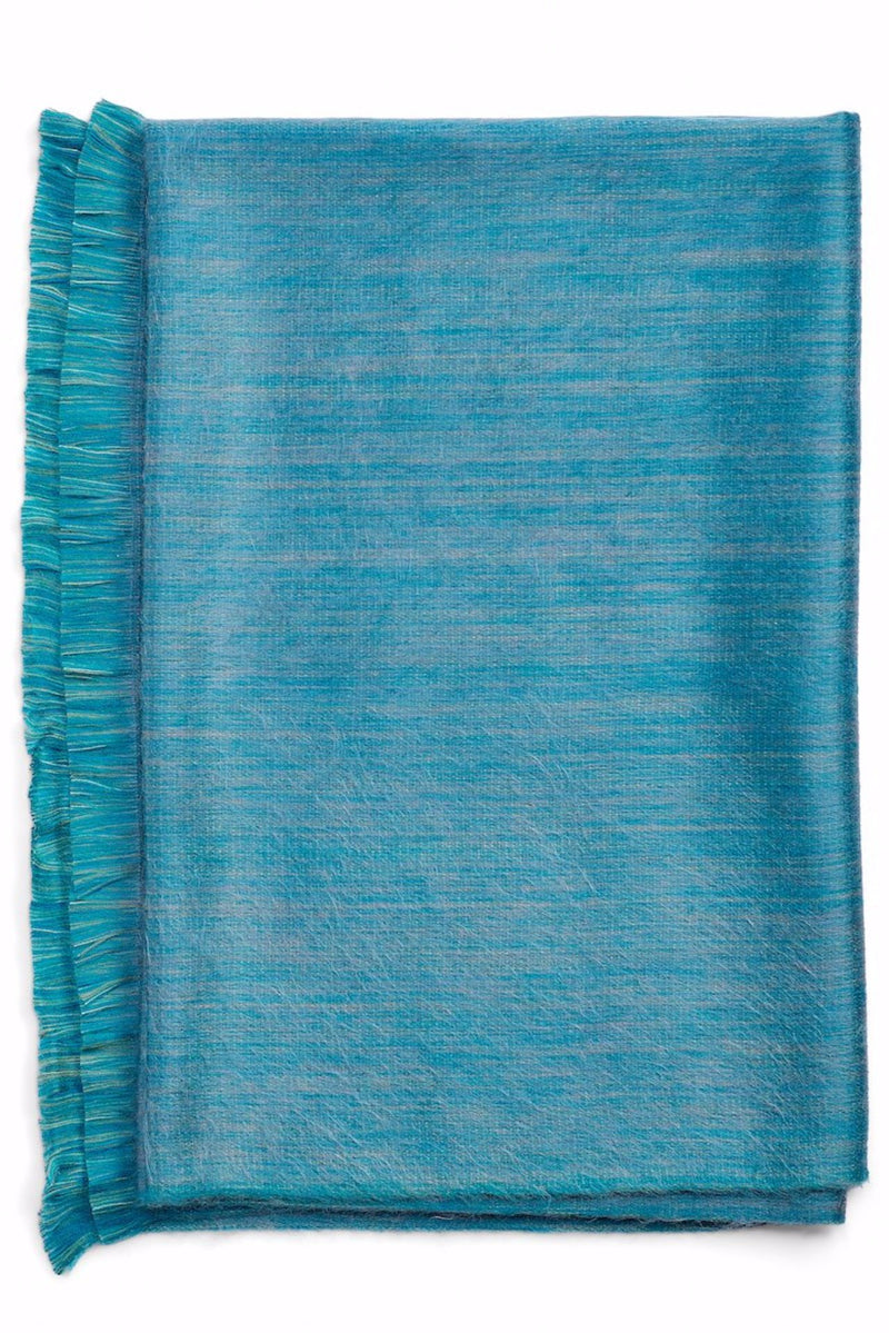 Alpaca Super Soft Heathered Throw with Fringe- Seagrass