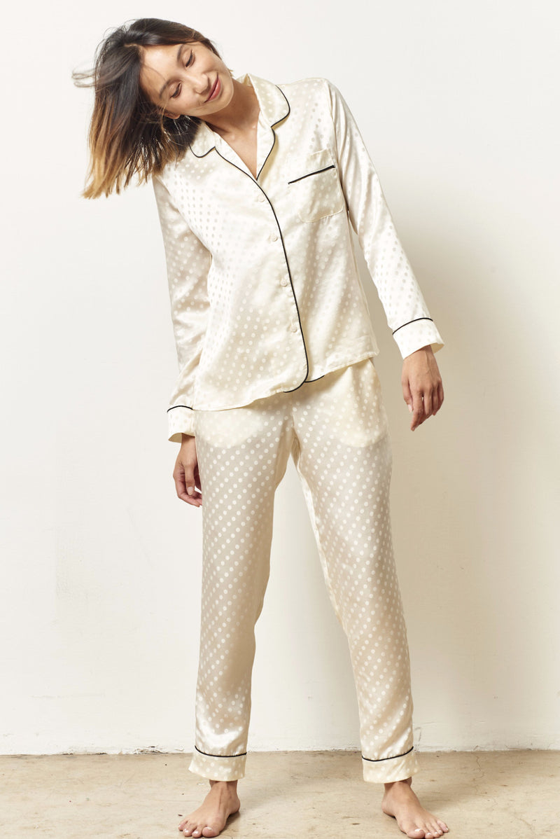 SIENNA Silk cocktail Dot pajama set with sash