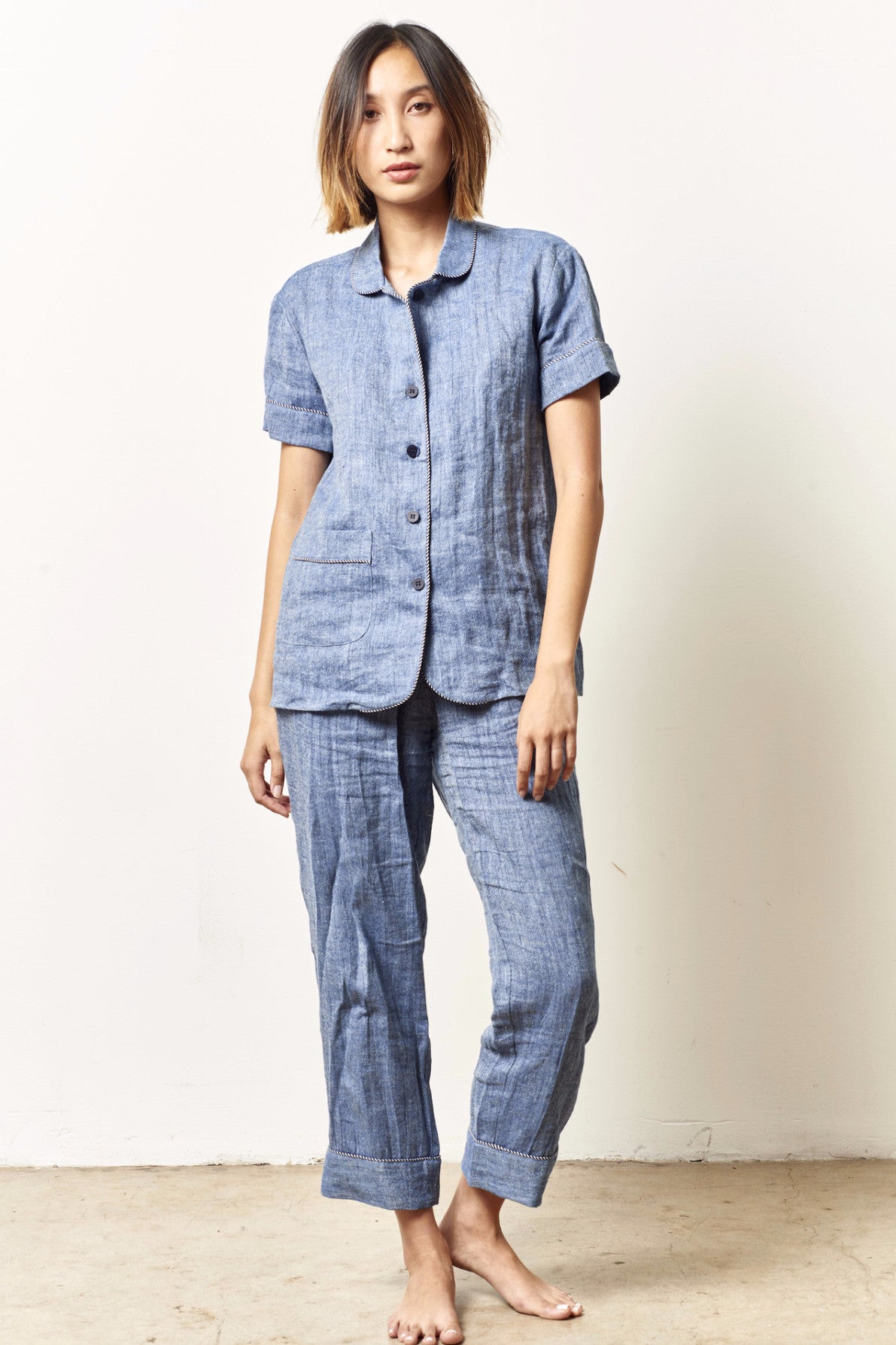 ARIANNA classic short sleeve cropped set DENIM linen