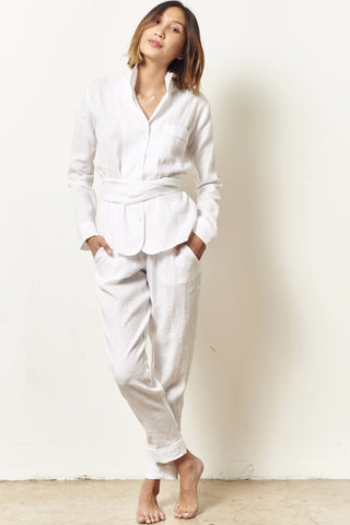 SIENNA Linen pajama set with sash TRUE WHITE
