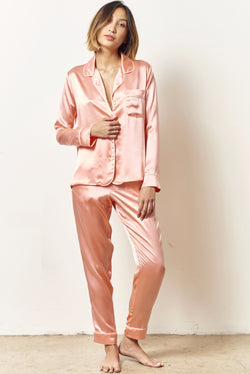 SIENNA Silk cocktail pajama set with sash APRICOT