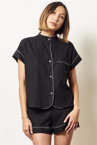 KACEY Linen short sleeve tap set BLACK