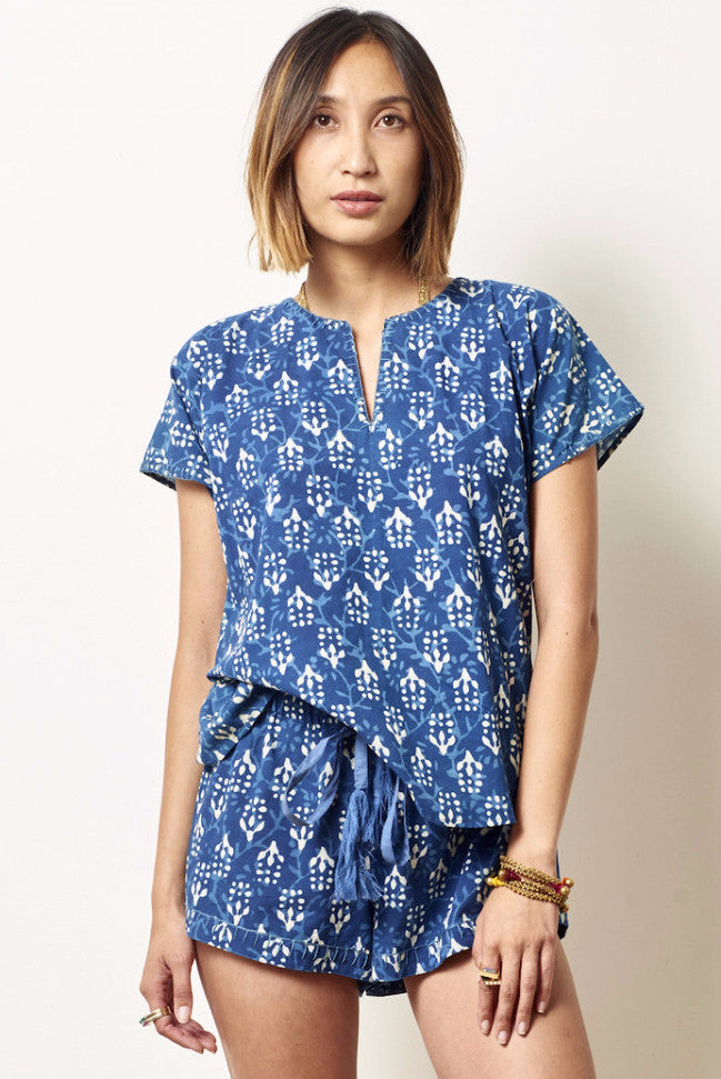 LAURA Cotton Indigo Block printed short set