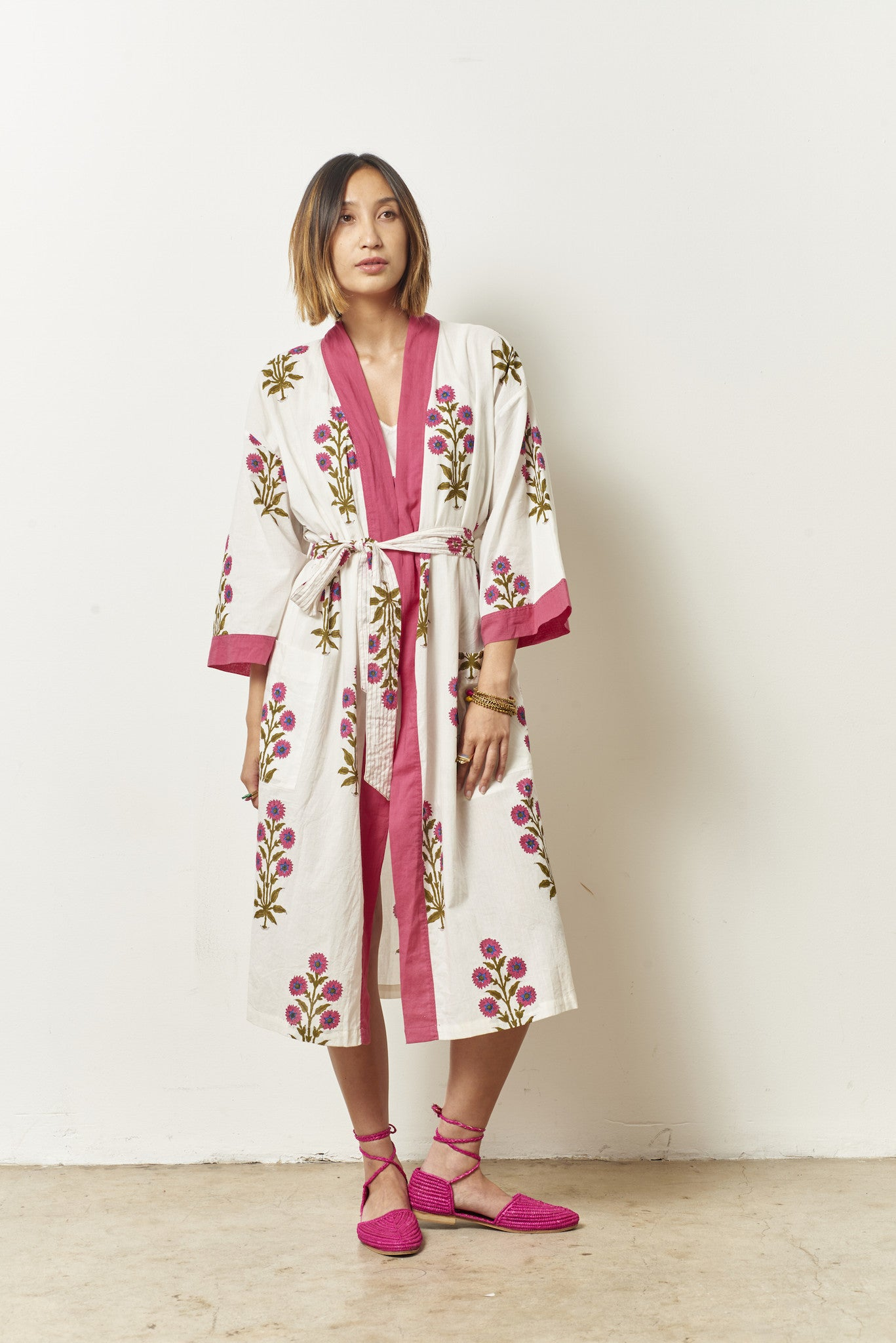 TORY Cotton robe in Block Printed Pom floral