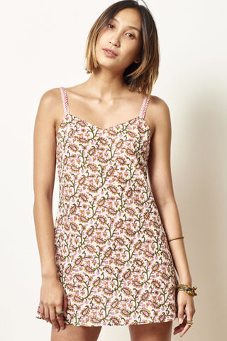SHANA Cotton slip dress Block Printed Paisley