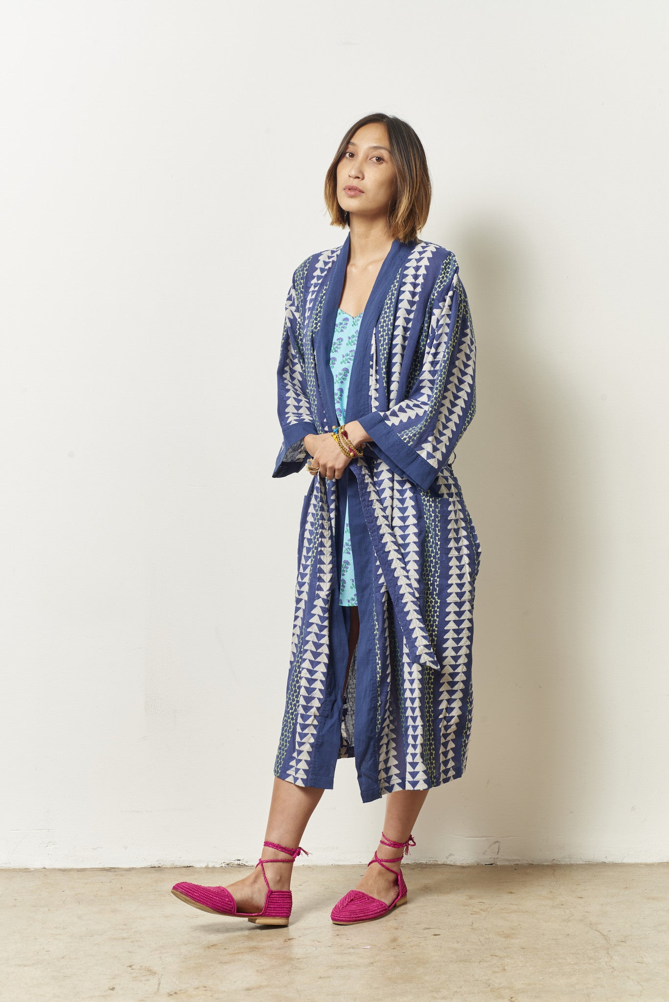 TORY robe in cotton triangle
