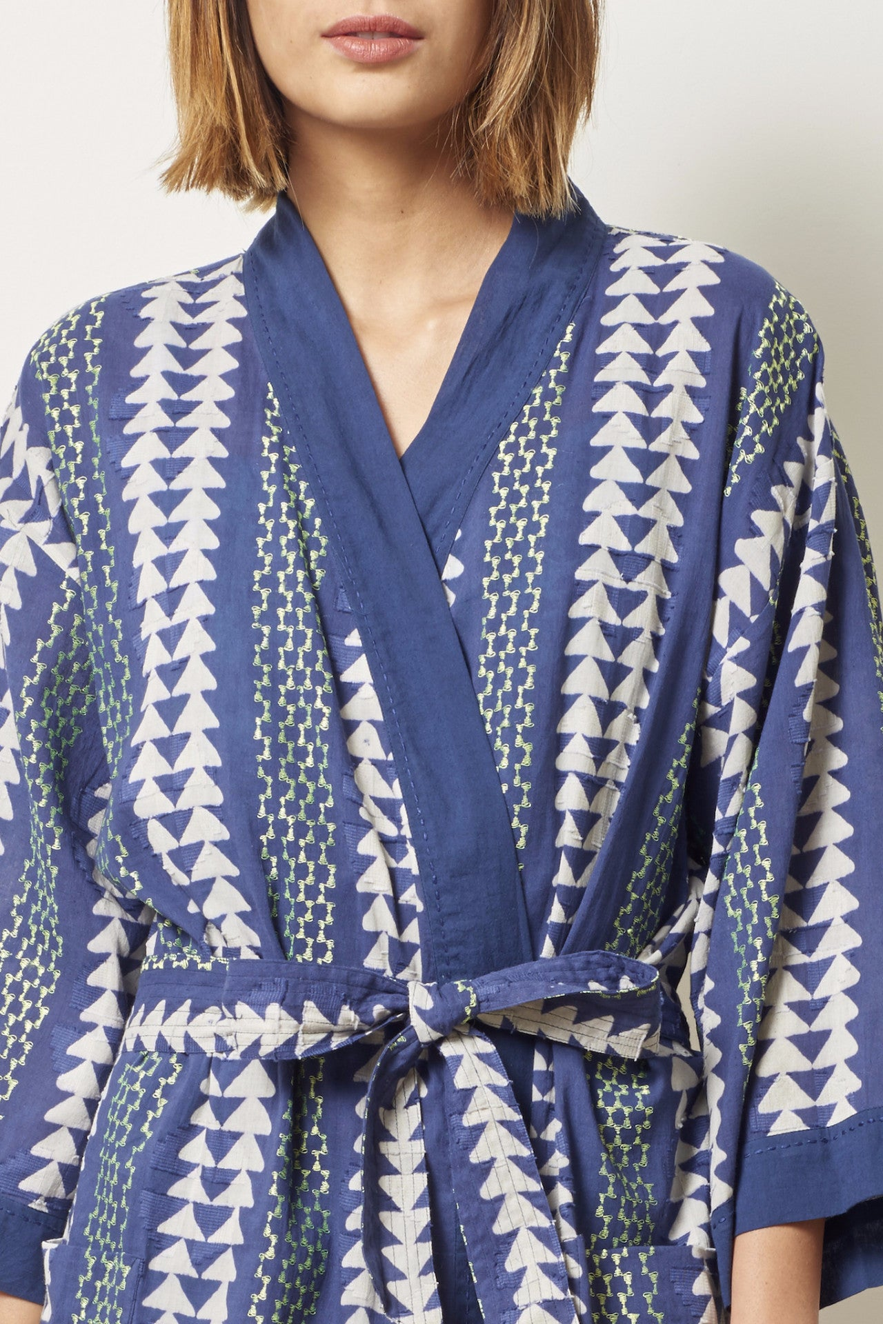 TORY Cotton robe in Block Printed triangle