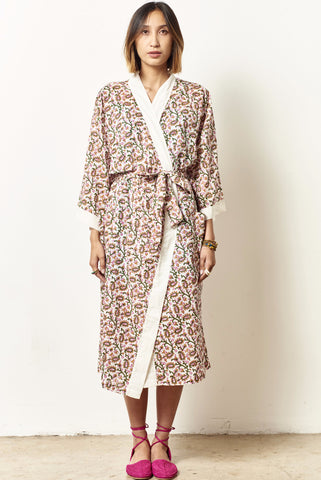 TORY Cotton robe in Blocked Printed paisley