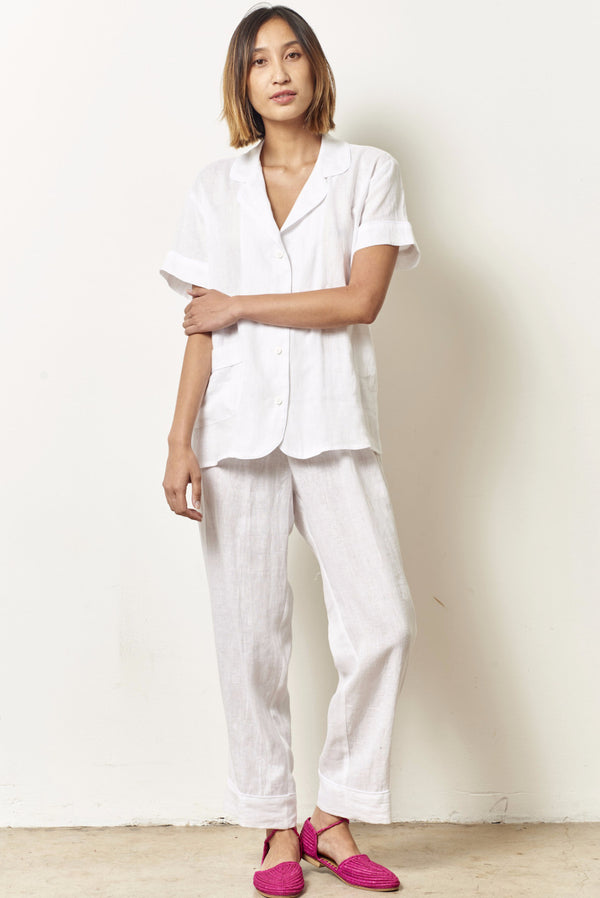 ARIANNA Linen classic short sleeve cropped set WHITE