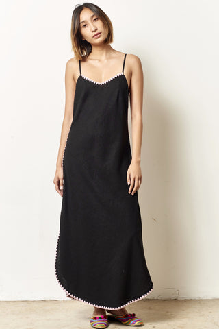 SHARRON linen slip dress with shell embroidery