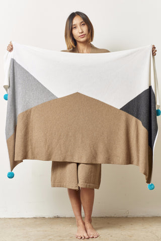 Cashmere Mountain Blanket with Pompoms