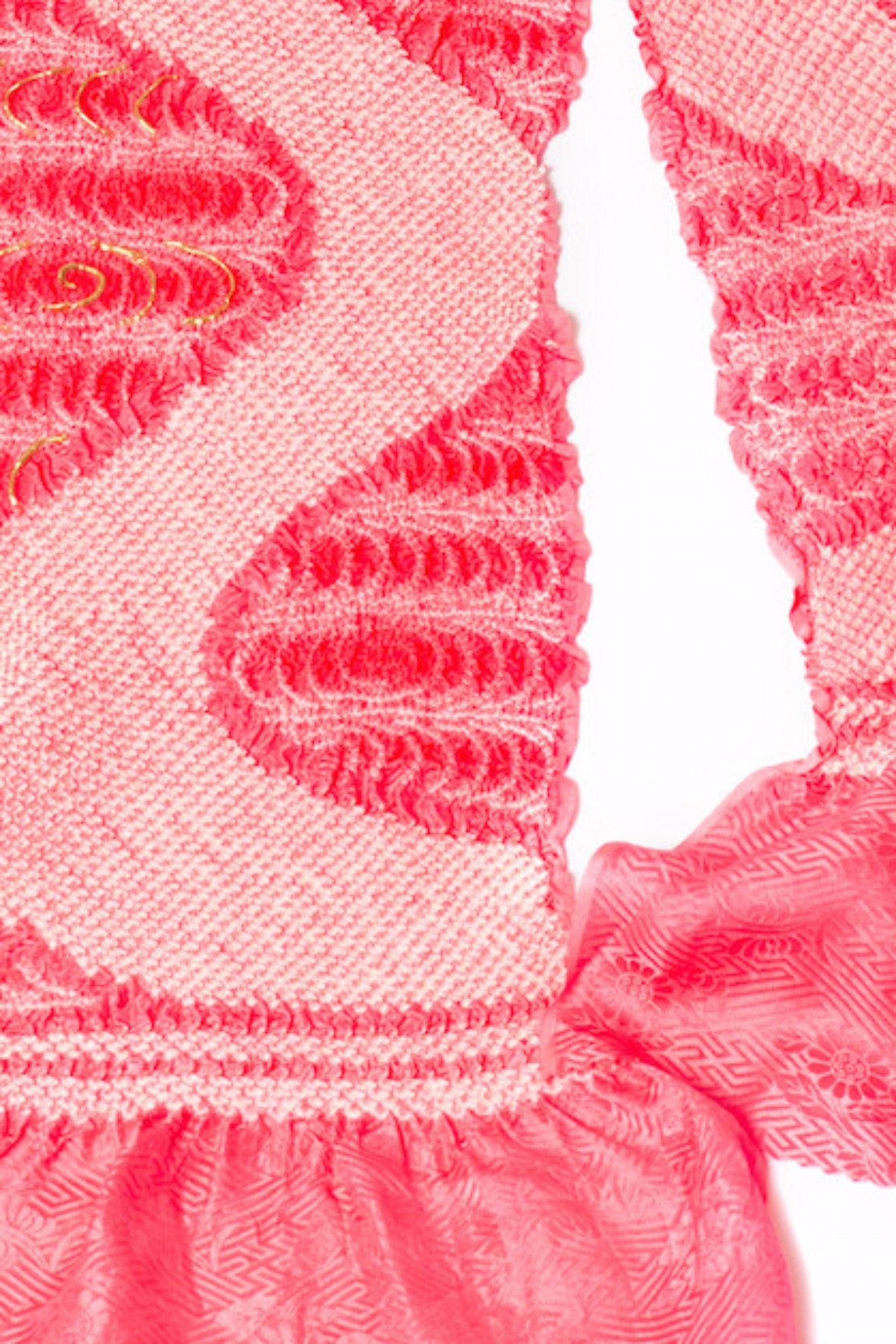 Japanese Obiage Handmade Silk SCARF Pink/white