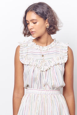 CASSANDRA Ruffle Top-Stripe