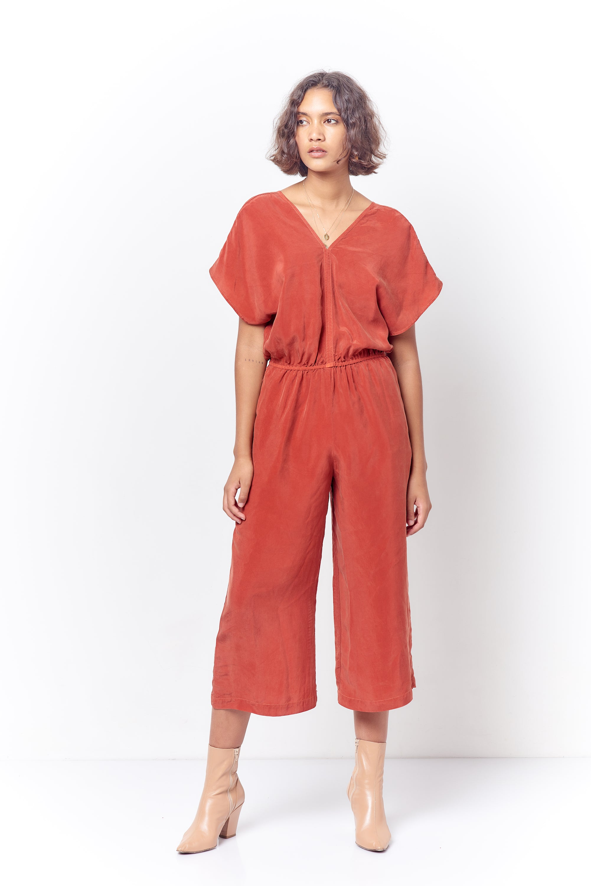 MELINDA V Cropped Jumpsuit - Solid