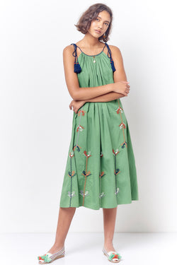 CINDY Peasant Style Sun Dress with Embroidery