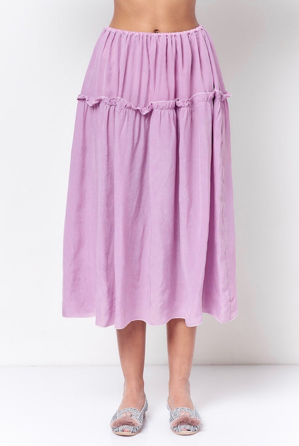 LAUREN Tiered Pull on Midi Skirt- Solid