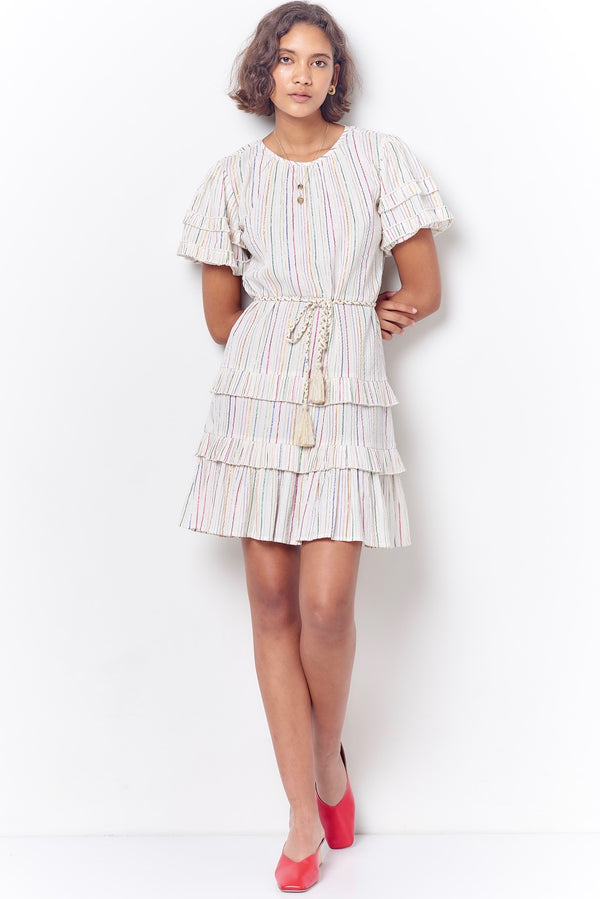 KRYSTAL Pleated Layered Dress-Stripe