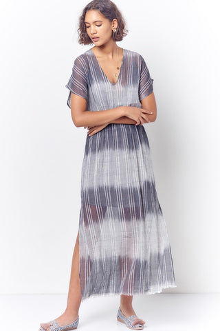 JULIE Double V Dress - Stripe