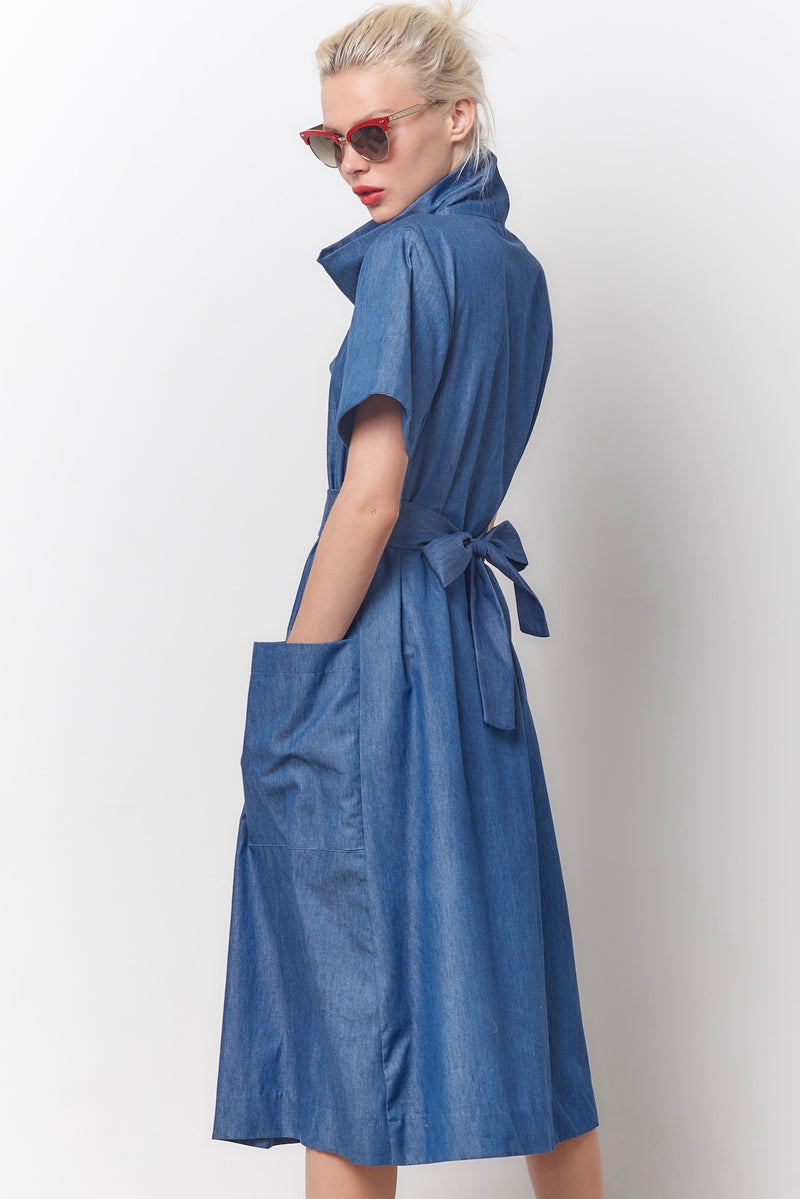 MILLY Cowl Neck Dress - Chambray