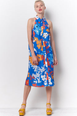 DEVON Halter Shirt Dress - Flower Power