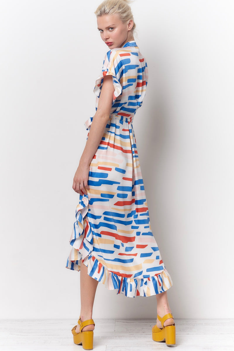 MARTA Shirt Dress - Cut Color Print