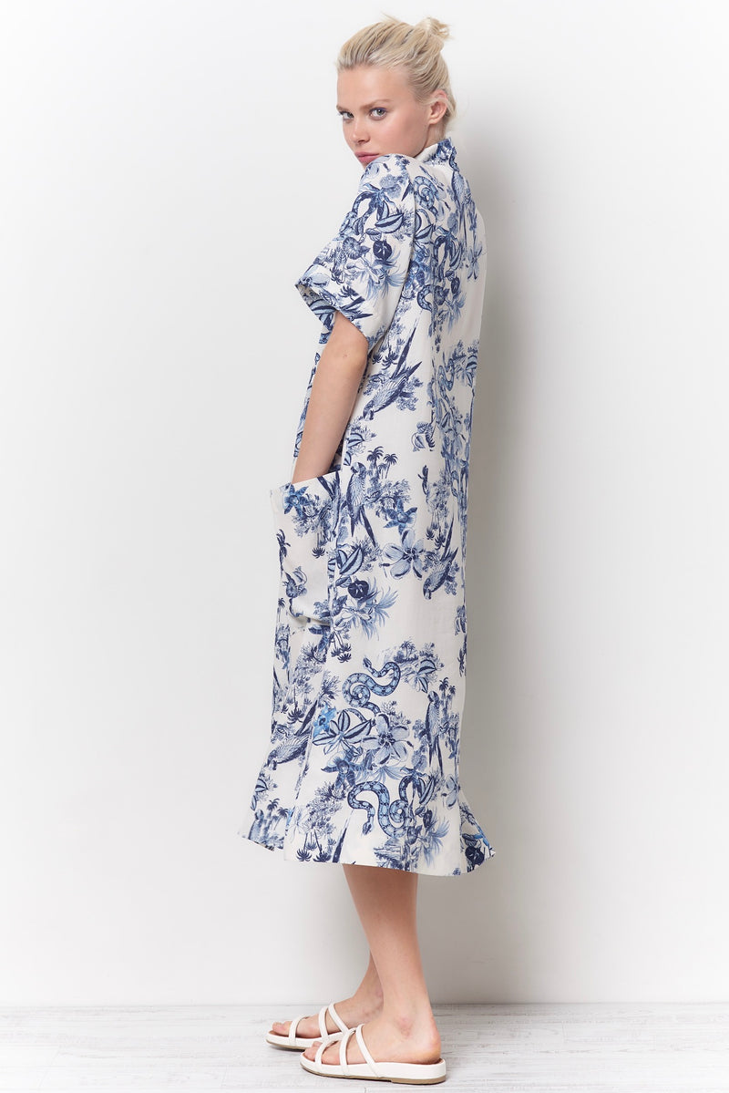 MILLY Cowl Neck Dress - Toile Print