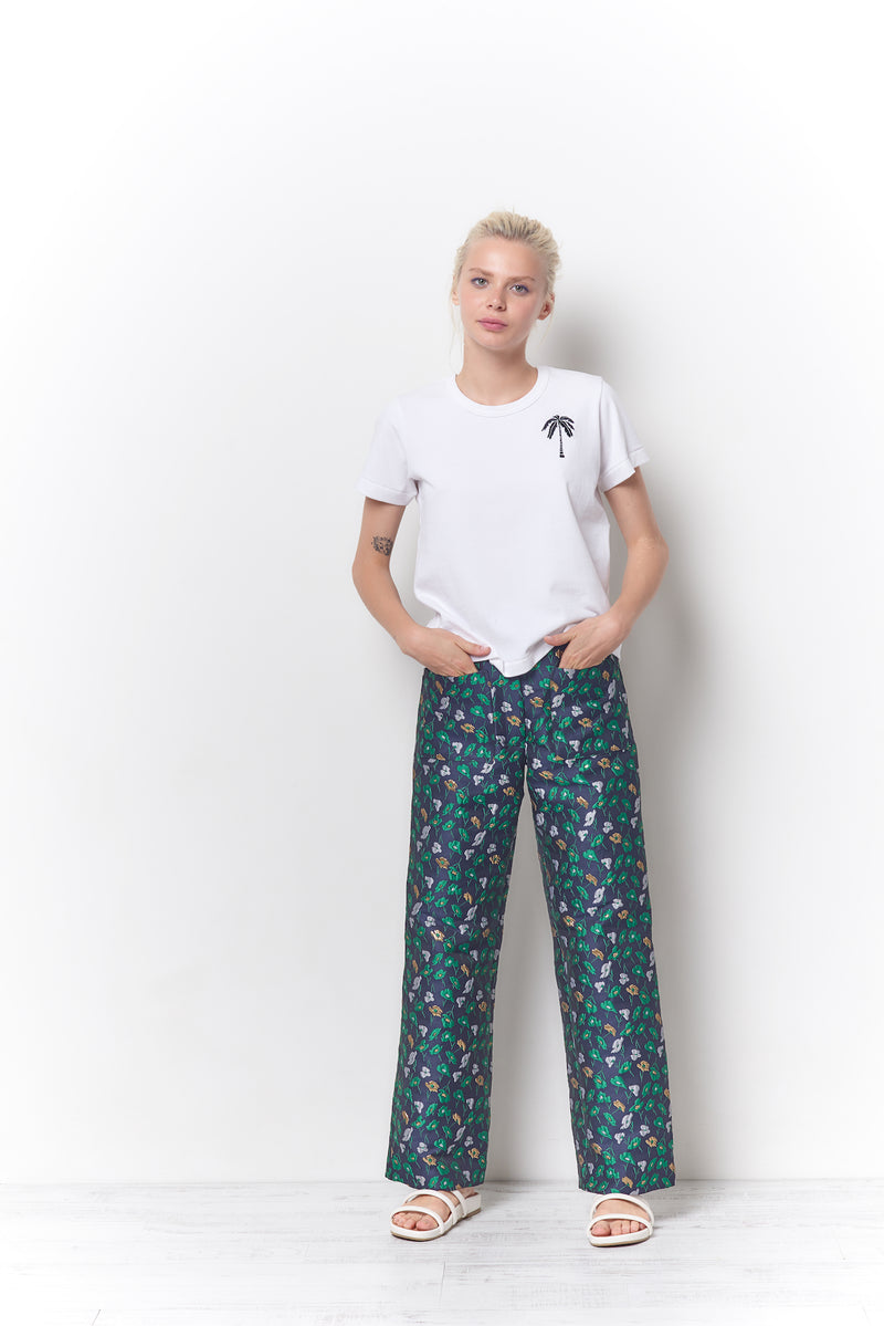 PADMA Patch Pocket Pant - Flower Jacquard