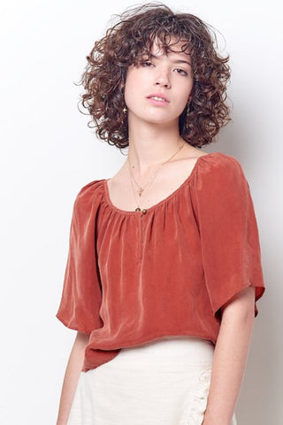 ISABELLA V-neck Ruffle Top-Dyed