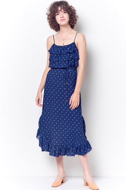 GRACIELLA Ruffle Front Slip Dress - Dot