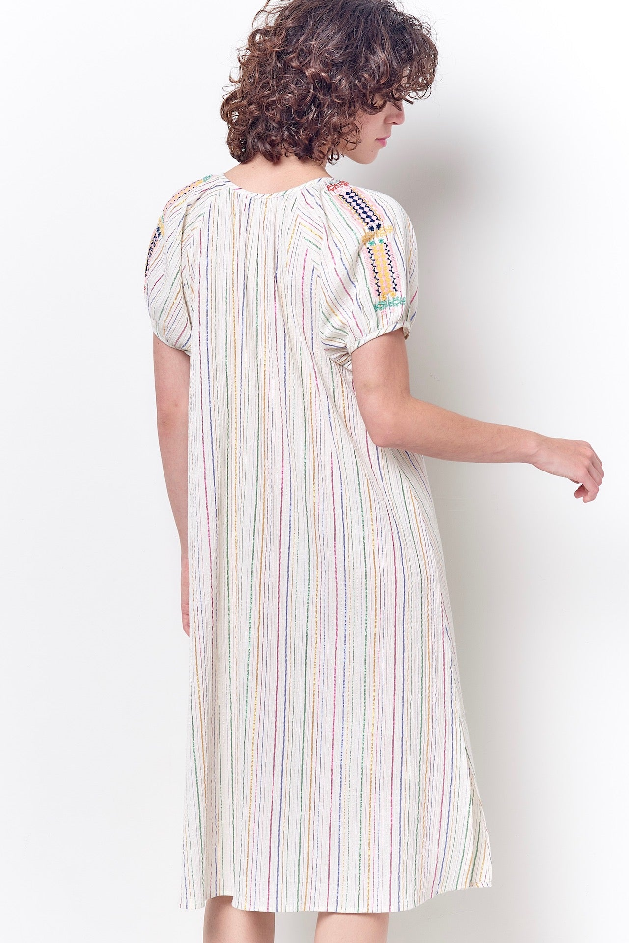 JESSICA Peasant Dress with Embroidery -Stripe