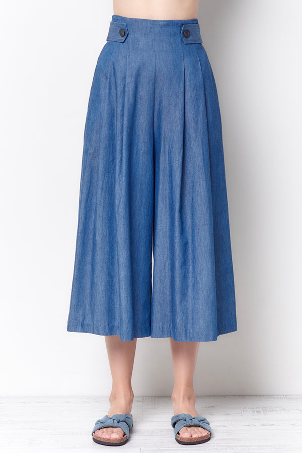 TRUDY High Waisted Culotte - Chambray