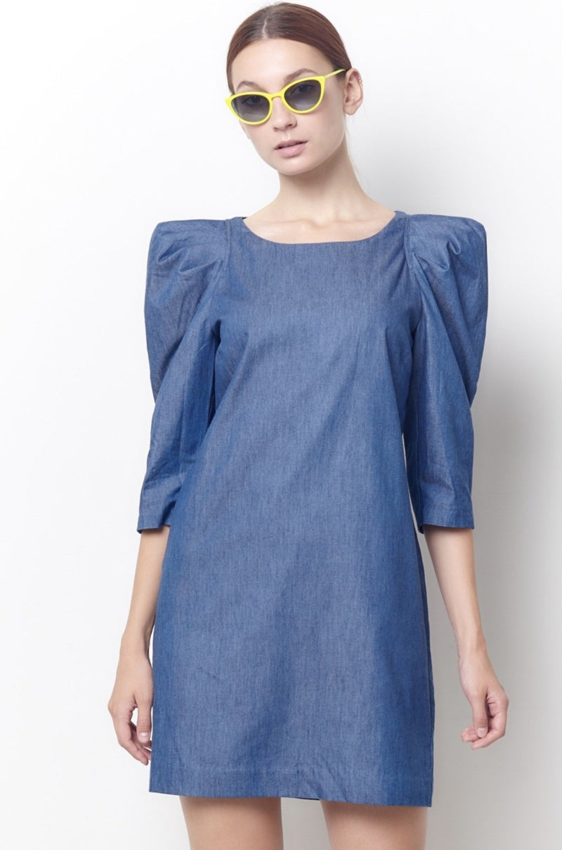 DOLLY Puff Sleeve Shift Dress - Chambray