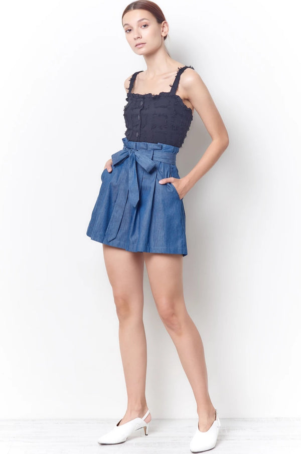 ALEXA High Waisted Shorts - Chambray