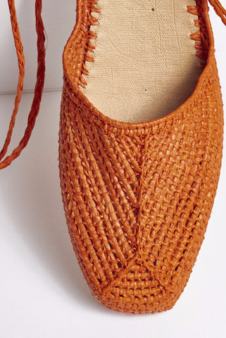 PEGGY Hand Made Raffia Wedge Wrap Shoe