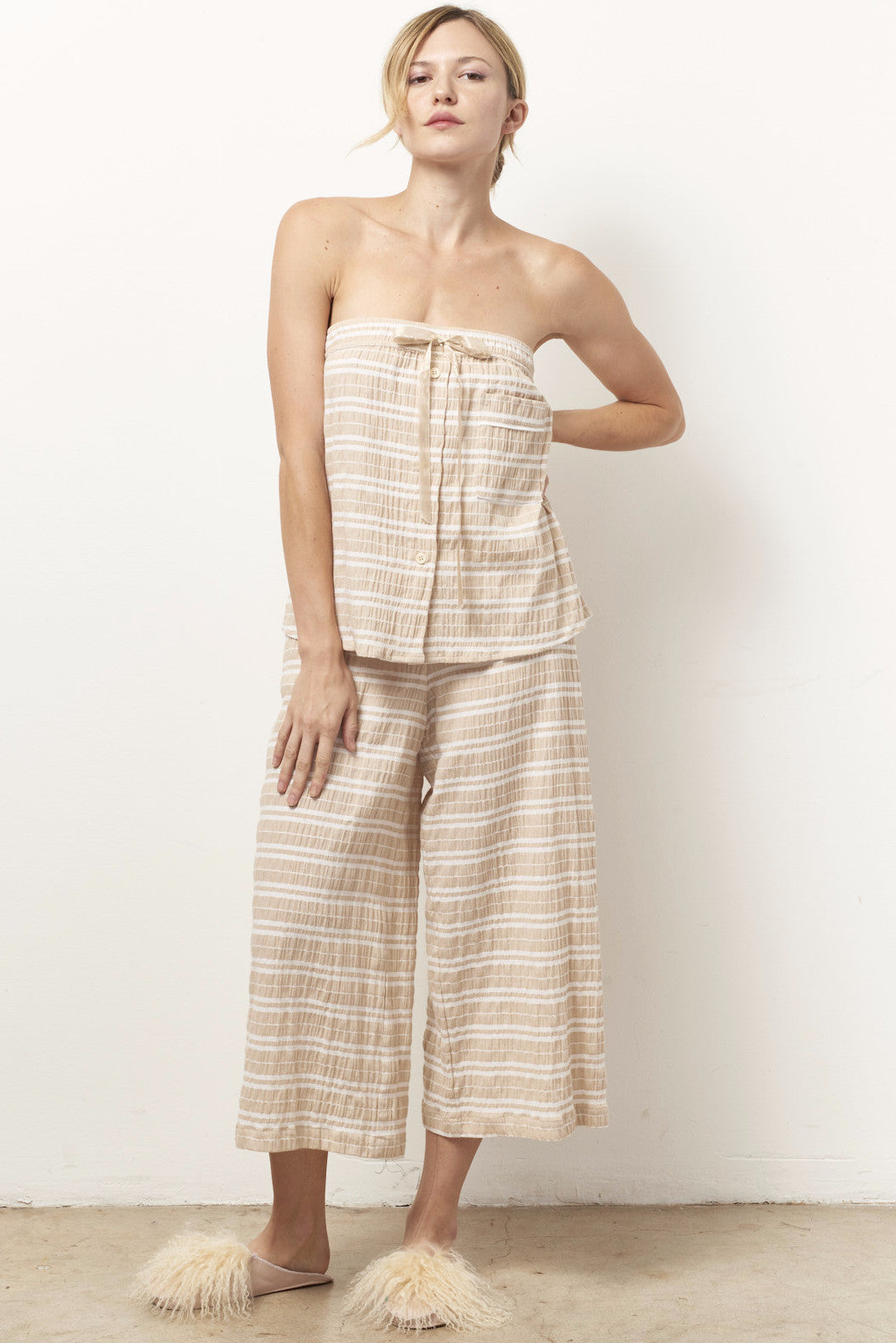 TYLER strapless set with wide leg crop pant stripe