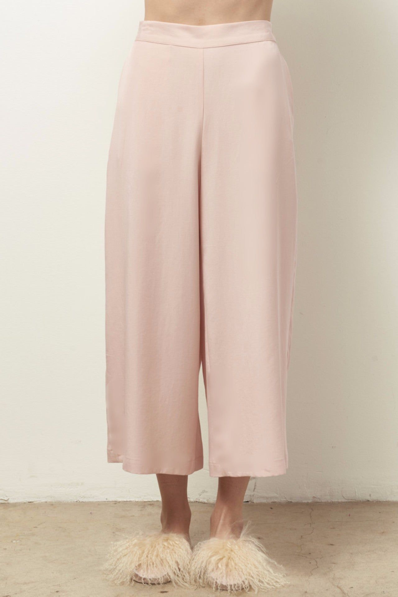 TYLER Tencel strapless set with wide leg crop pant